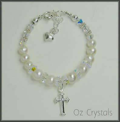 Baby Bracelet Christening Baptism made with Swarovski, Fresh Water Pearls, Cross