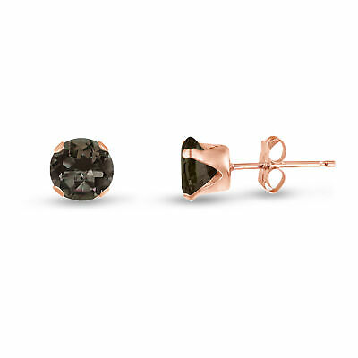 Genuine Smokey Quartz Round Rose Gold Plated Sterling Silver Stud Earrings