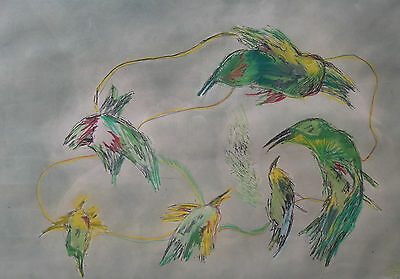 "Debra Kamil - Stunning, Original Coloured Etching 1/8  "" Birds In Fly  "" Signed"