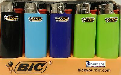 50 Mini Bic Lighters - Assorted Colors - With Fluid