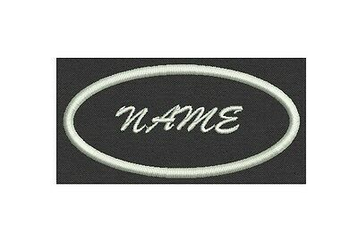 Oval Custom Embroidered Name Tag, Biker Patch, badge  - just add your name