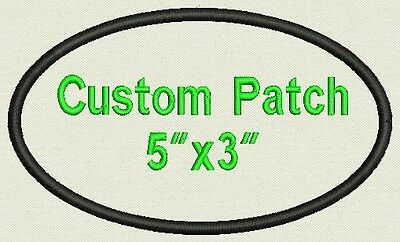 """Oval Custom Embroidered Name Tag, Biker Patch, 5"""" X 3"""" - Add your text"""