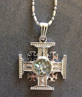 Silver Plated Jerusalem Cross With Roman Glass Replica New Pendant
