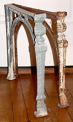"""Antique cast iron bench, seat, tubStand, ribbed pilaster, 16""""t, steampunk, table"""