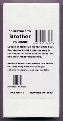 2-pack Fax Film Refill Rolls for your Brother 1170 1270 1270e 1770 Fax Cartridge