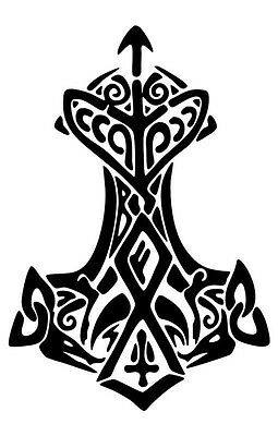 VIKING Thors Hammer Thunder decal sticker NORSE ASATRU MJOLNIR