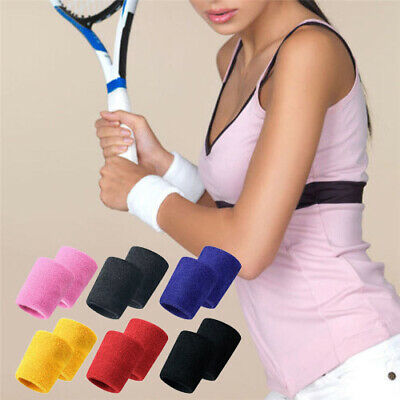 NEW Wrist Sweatbands Unisex Wristband Sports Tennis Squash Badminton Gym Running