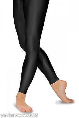 Roch Valley Footless Leggings Nylon Lycra Shiny Black-Dance Gymnastics Freestyle