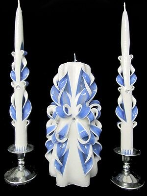 100% CUSTOM hand-carved Wedding Unity Candle Set - w/ YOUR COLORS, PERSONALIZED!