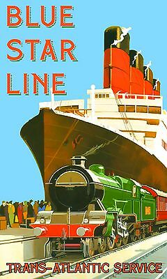 0038 Vintage Travel Poster - Blue Star Line