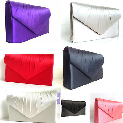 New Satin Light Nude Evening Clutch Bag Wedding Prom Party Purple Ivory White