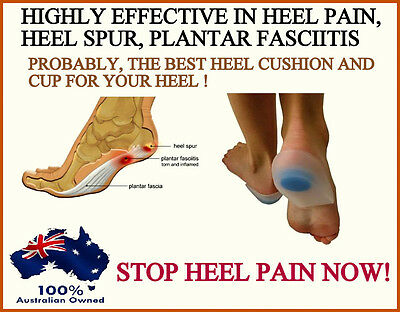 Stop Heel Pain Fast Gel Plantar Fasciitis Spur Pad Cup Insole Support