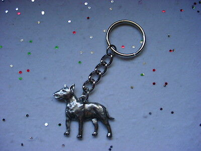 BULL TERRIER Fine DETAILED PEWTER Silver DOG KEYCHAIN Pet Key Chain Ring USA NEW
