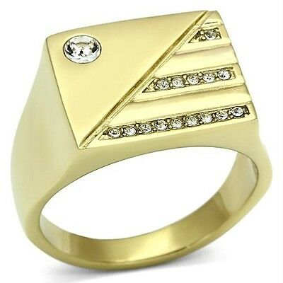 18K GOLD EP MENS DIAMOND SIMULATED DRESS  RING size 8 - 13 you choose