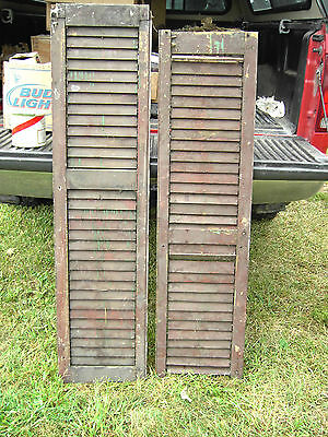 antique wood shutters Pr Burgandy several layers of paint 13 1/2 X 54 X 1 1/8