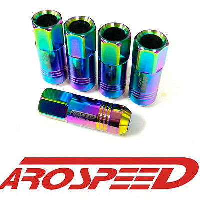 20Pc 12X1.5Mm 60Mm Extended Forged Aluminum Tuner Racing Lug Nut Set Neo Chrome