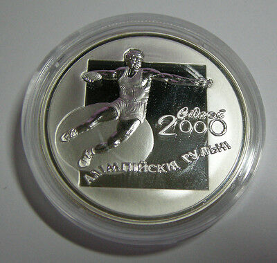 Weissrussland Belarus 20 Rublou 2000 Olympia Sydney 2000 Diskuswurf Silber Pp