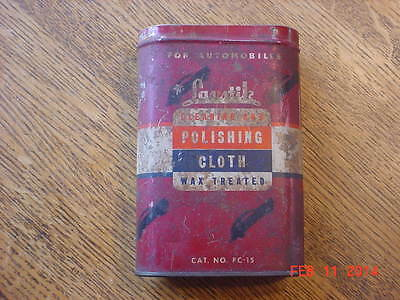 Vintage LAS STIK Cleaning and Polishing Cloth Wax Treated Can/Tin with Cloth