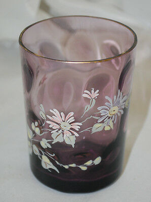 Purple Interior Thumbprint Tumbler w/ Hand-Painted Daisies