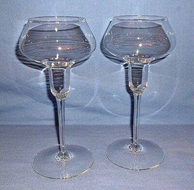 VINTAGE Riekes-Crisa Crystal Tapered Candle Holders -Set of 2- Monterrey Pattern