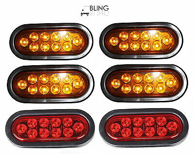 """4 AMBER 2 RED Oval 6"""" LED Turn Stop Tail Light Grommet Plug Truck Trailer New"""