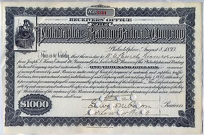 $1000 Philadelphia & Reading Railroad Company Stock Bond Certificate