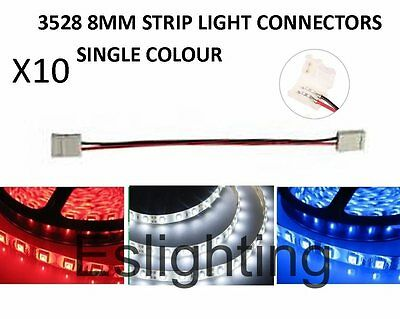 10X Led Strip Light Smd 3528 Double Connectors 2 Wire 8Mm Pcb Board Adapter