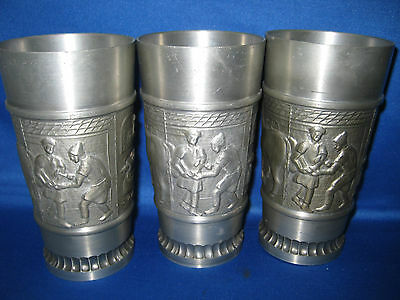 """Three  5 """" Antique Made in Germany Solid Pewter Embossed Engraved Cups 4 Scenes"""
