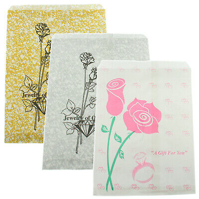 Pink Silver & Gold Rose Paper Gift Bags Jewelry Merchandise Shopping 5x7 100 Pcs