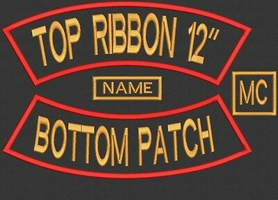"""4 Pieces Custom Embroidered Rocker Name Patch Set Biker Motorcycle Tag Badge 12"""""""