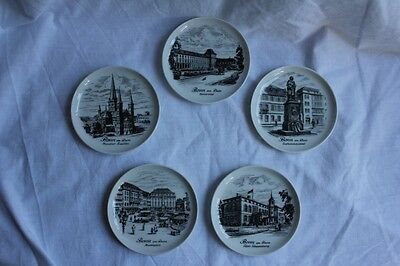 Fantastic Set of 5 AK Kaiser Coasters/Mini Plates Featuring Images from Bonn
