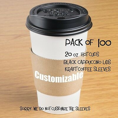100-Pack Paper Coffee / Hot Cup 20 oz w/Cappuccino Lids and Customizable Sleeves