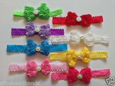 Floral Roses Diamante Bow Headband Baby Girl Headbands Newborn Toddler + Lot