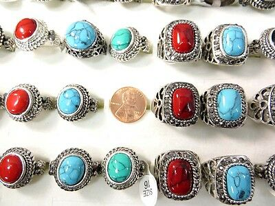 US SELLER-lot of 10 mixed color gemstone fashion rings in antique vintage style