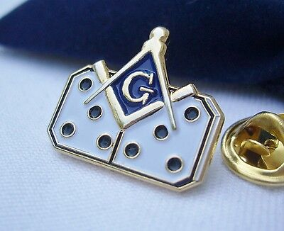Masonic Lodge Domino Dominoes Tournament League Lapel Pin Plus Gift Pouch