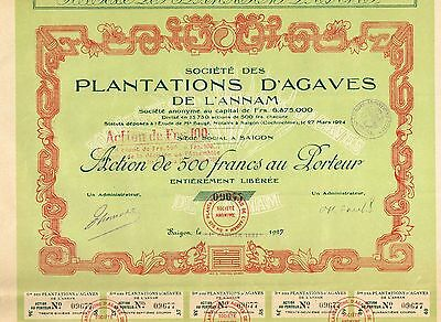 INDOCHINA AGAVE PLANTATIONS OF ANNAM stock certificate 1927