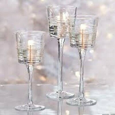 Partylite Clear Lines Stemmed Trio
