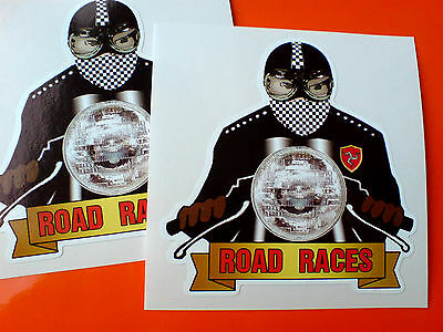 ISLE OF MAN ROAD RACES Cafe Racer Motorcycle Helmet Stickers Decals 2 off 85mm
