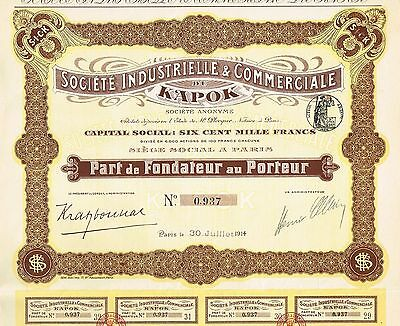 INDOCHINA INDUSTRY & COMMERCIAL COMPANY OF KAPOK stock certificate 1914