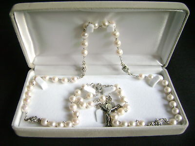 Rare Sterling Silver Rose Beads Real Pearl CRUCIFIX CATHOLIC NECKLACE GIFT BOX