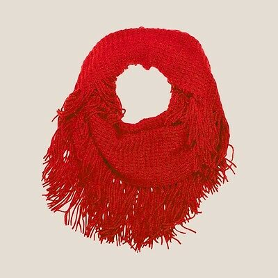 Jendi NEW SEASON Ladies Girls RED Infinity Winter Knit Scarf Snood w Fringes