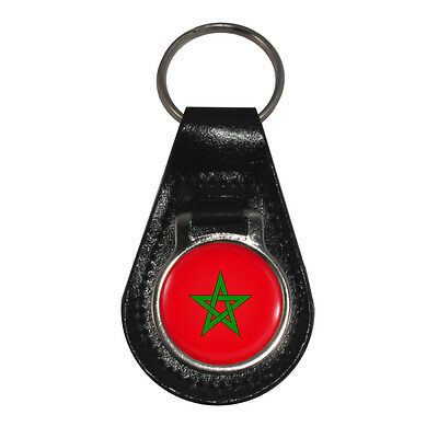 Moroccan Flag Leather Keyring morocco arabic maghreb islam african Brand New