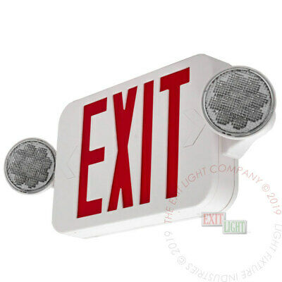 LED Exit Sign & Emergency Light – High Output - RED Compact Combo UL COMBORJR2