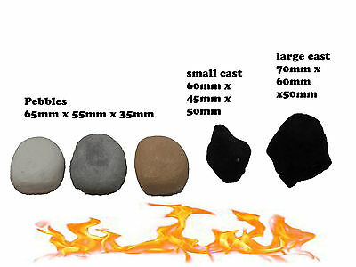 gas fie flame proof coals pebbles different colours and qty's