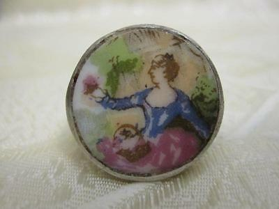 """LADY IN THE GARDEN"" STERLING SILVER HAND PAINTED PORCELAIN RING SZ 5"