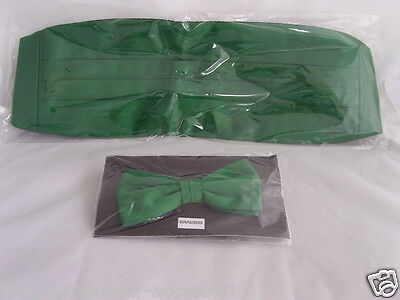 Forest GREEN Cummerbund and Bow Tie Set<*Free*>P&P 2UK>1st Class>Over 50 Colours