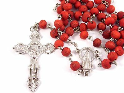 """Rose Scented wood Carved Rose Petal Rosary beads Madonna centerpiece crucifix 2"""""""