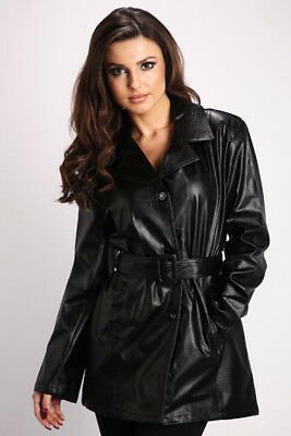 Size 10 12 14 16 Black Faux Leather Pvc Belted Mid Length Jacket Trench Coat Mac