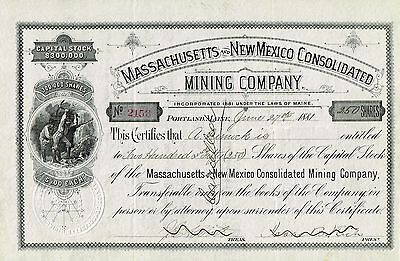 SPAIN THE NEW MINING COMPANY OF BAUSEN  stock certificate 1913 PURPLE