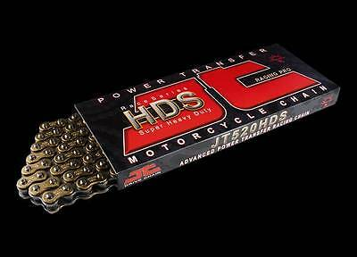 JT HDS Motorcycle Drive Chain 520 118 Links Heavy Duty Gold